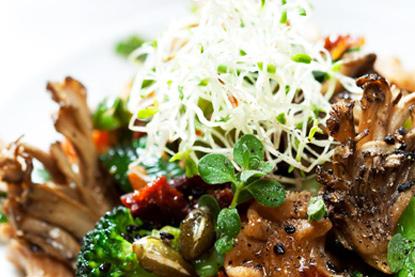 Pasta de espelta con verduras y germinados de alfalfa