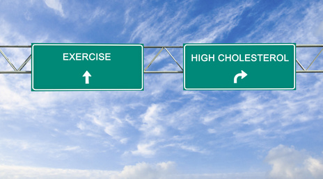 Road signs to excrcising and high cholesterol