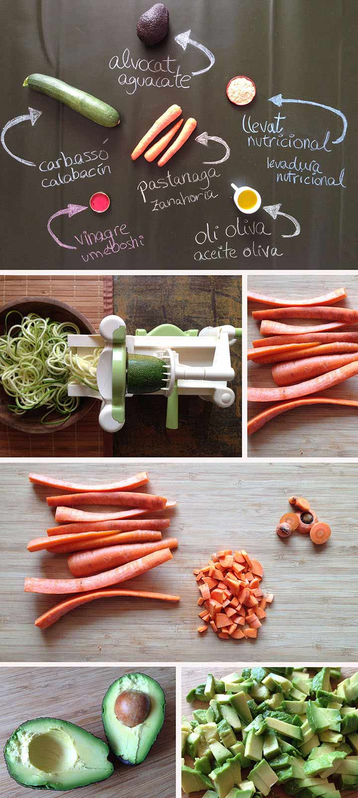 Ingredientes y elaboración espaguetis de calabacín