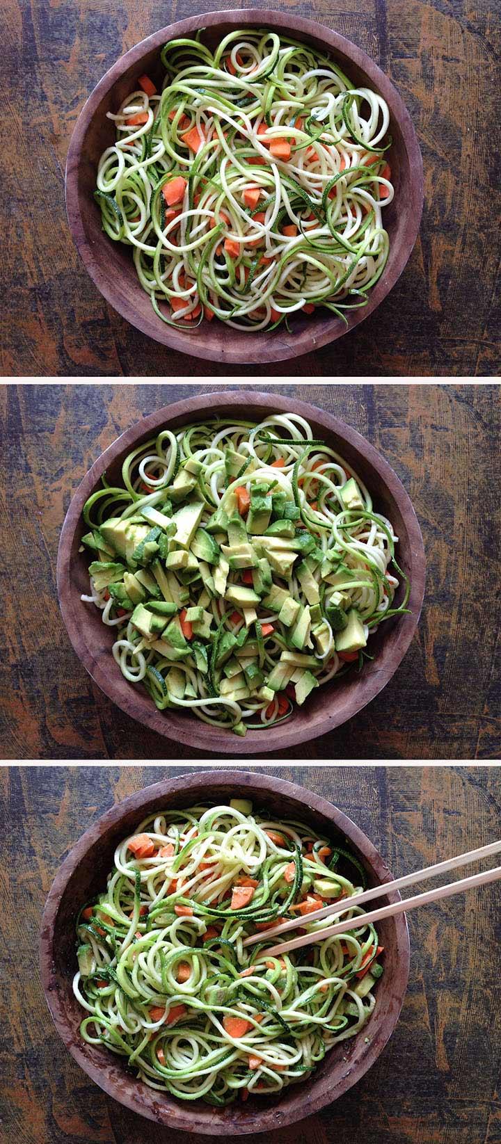 Preparación espaguetis de calabacín