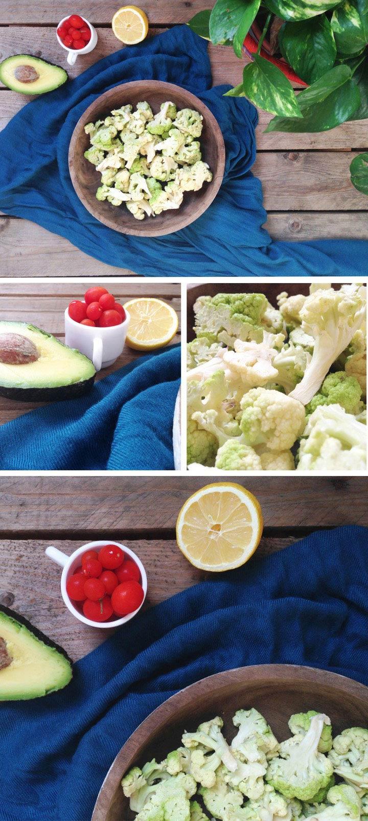 Ingredientes ensalada de brócoli, aguacate y tomate