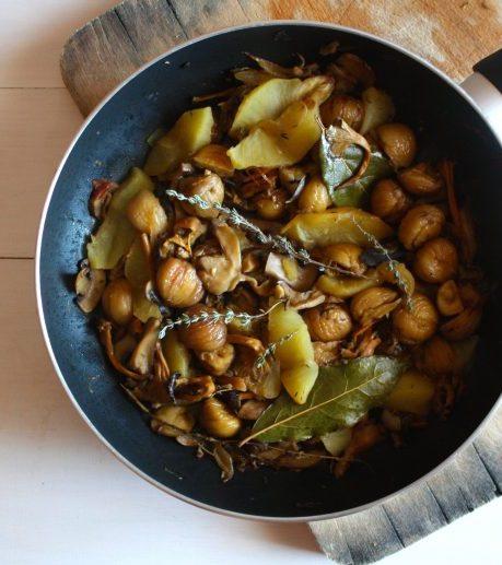 Receta de estofado de setas, manzana y castañas por Gina Estapé