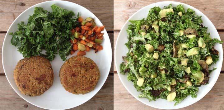 Hamburguesas veganas de trigo sarraceno y ensalada