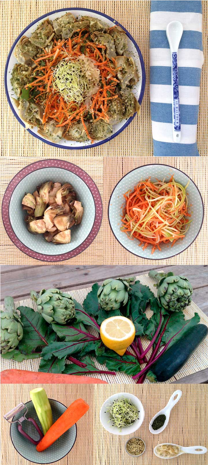Ingredientes y elaboración ensalada alcachofa, zanahoria y calabacín