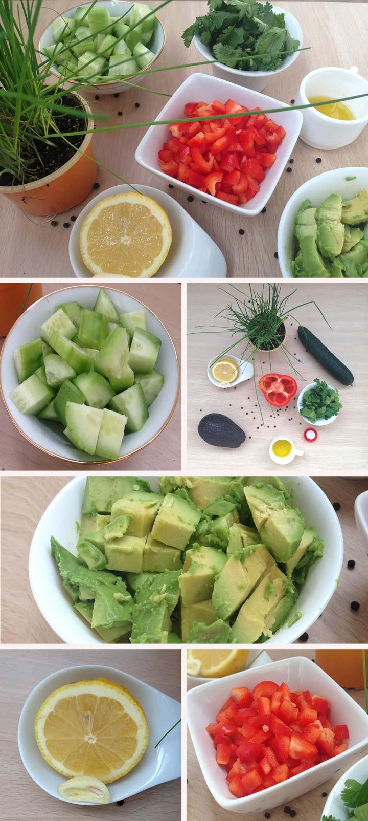 Ingredientes y elaboración crema de pepino, aguacate y pimiento rojo
