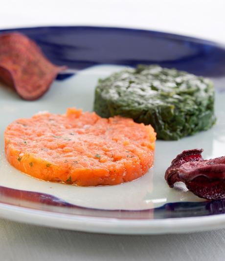 tartar de salmon y espinacas