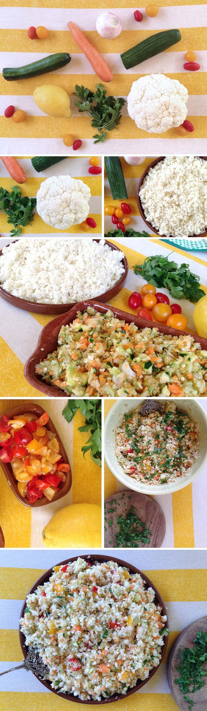 Ingredientes y elaboración tabulé de arroz crudivegano