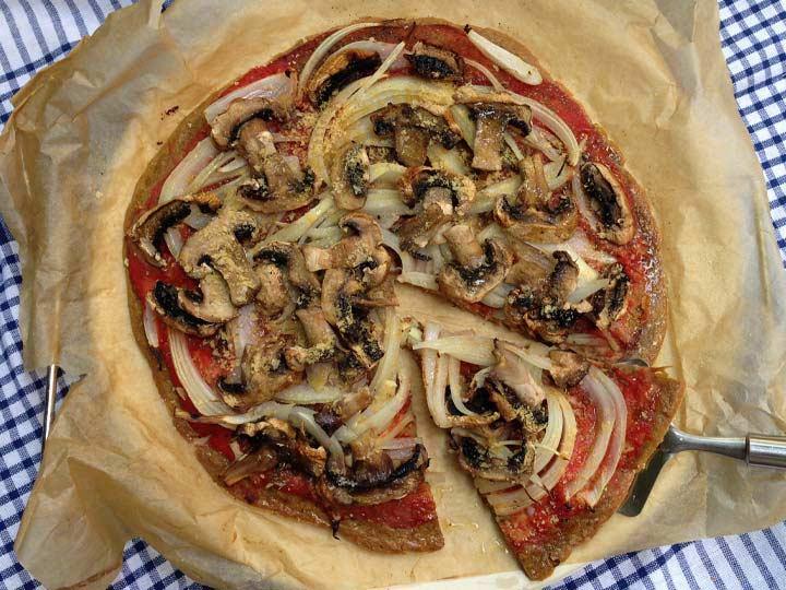 Pizza sin gluten vegana