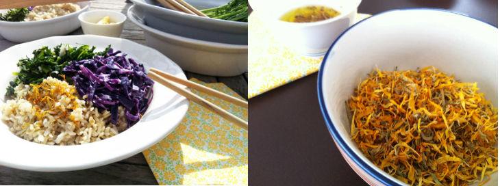 Ensalada col lombarda, arroz y espigalls