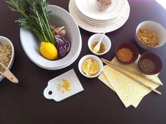 Ingredientes ensalada col lombarda, arroz y espigalls