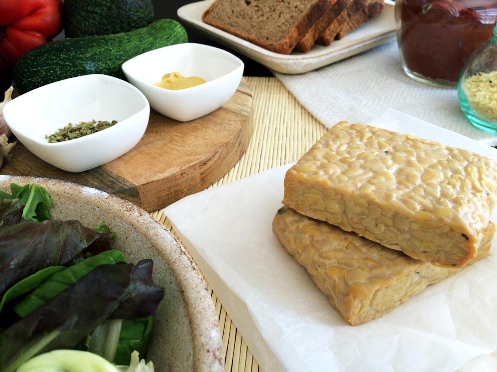 Ingredientes bocadillo bacon cheese vegano