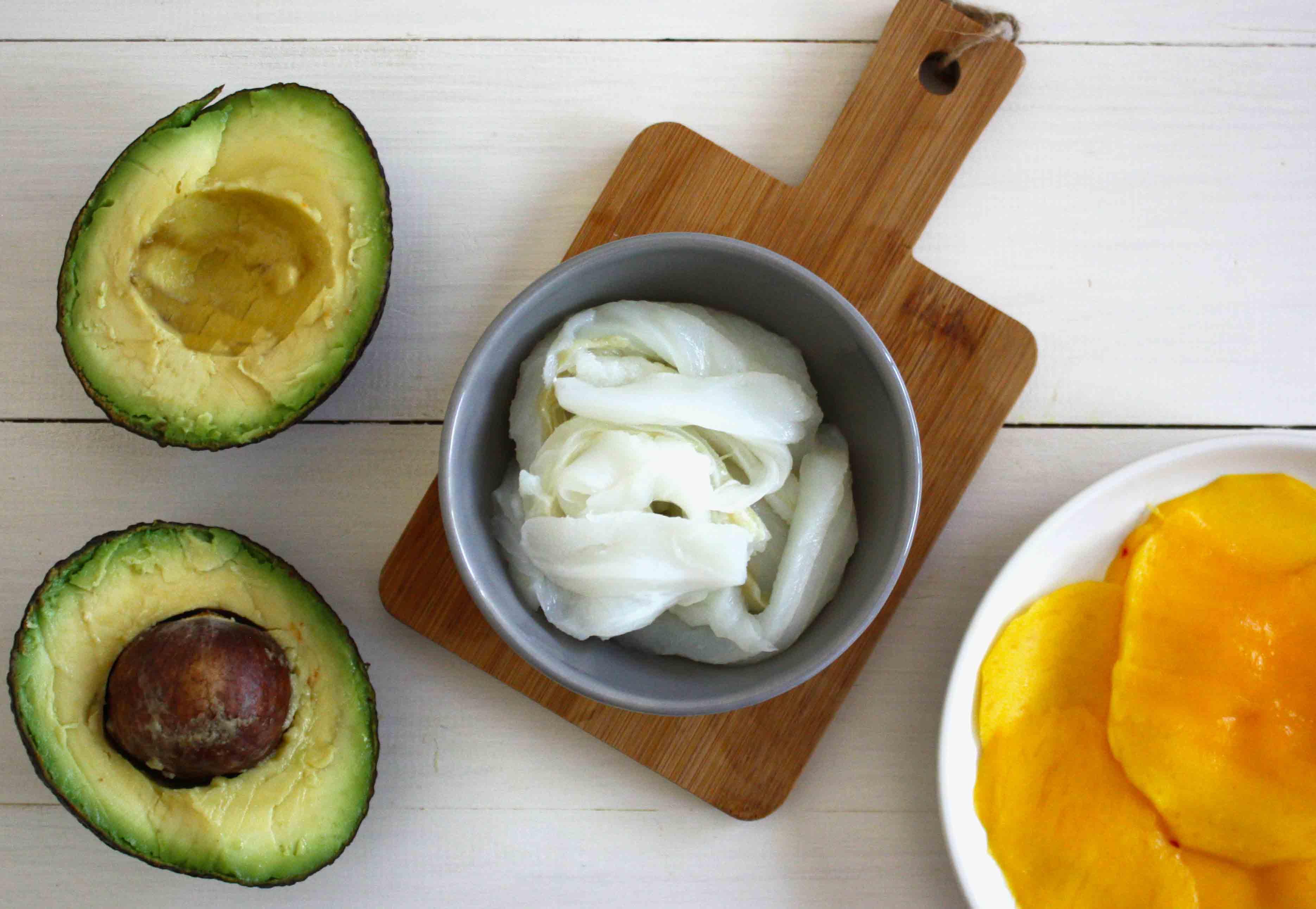 Ingredientes carpaccio de mango con bacalao desmigado