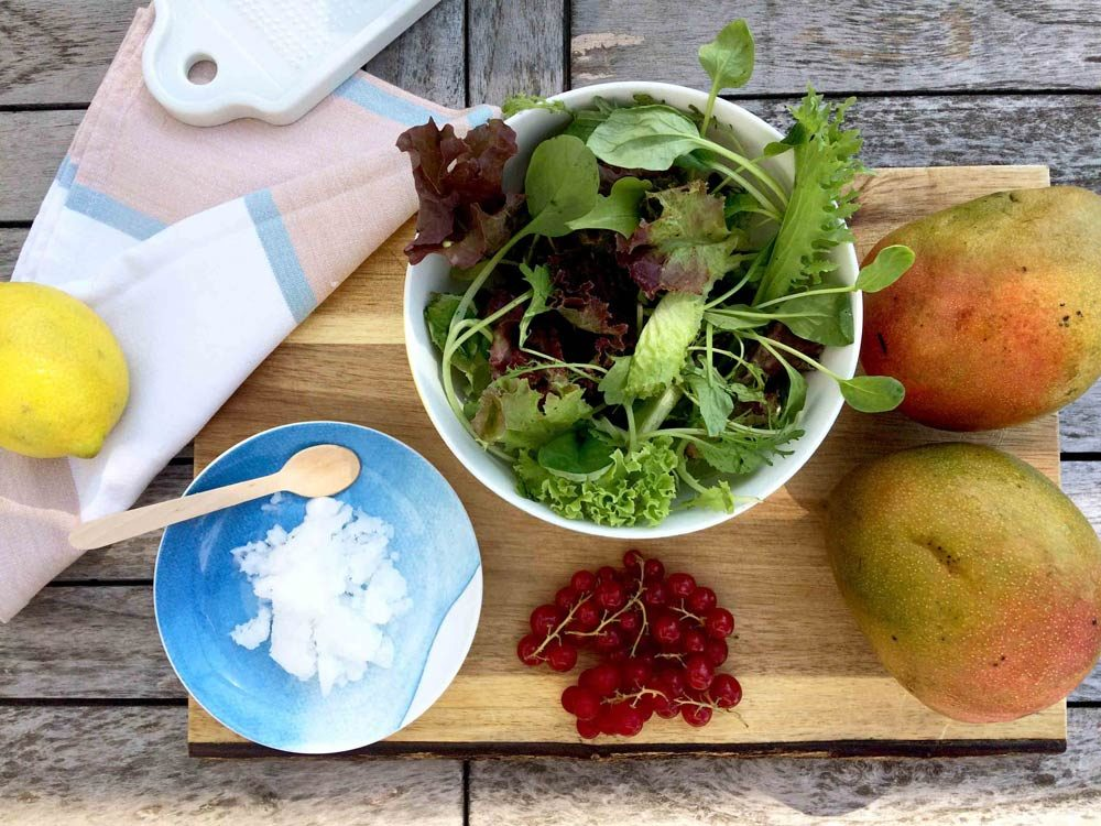 Ingredientes ensalada tropicalde mango coco limón fresh