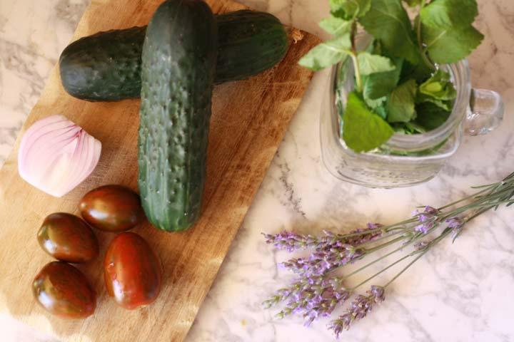 Pepino, tomates y cebolla
