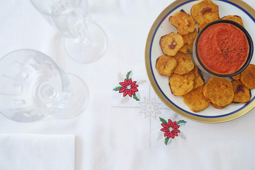 Aperitivos saludables navidad - chips de boniato