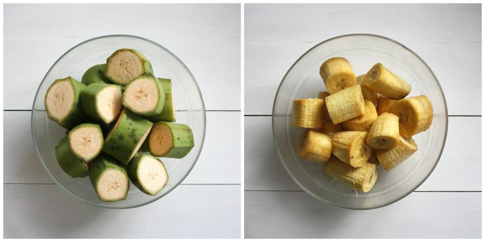 Plátano macho crudo y cocido