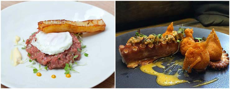 Steak tartare y pulpo a la brasa
