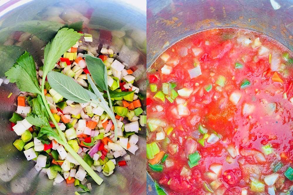 Sopa mágica de tomate y azukis con tortillas crujientes