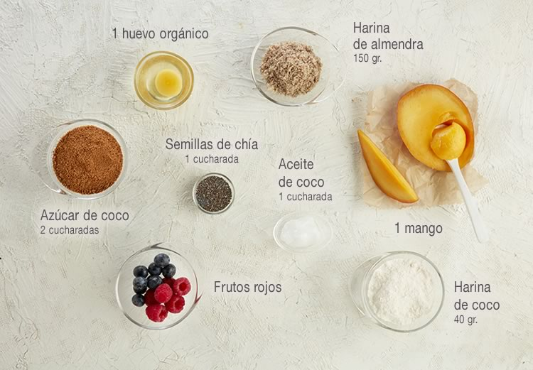 Tartaletas de mango y coco