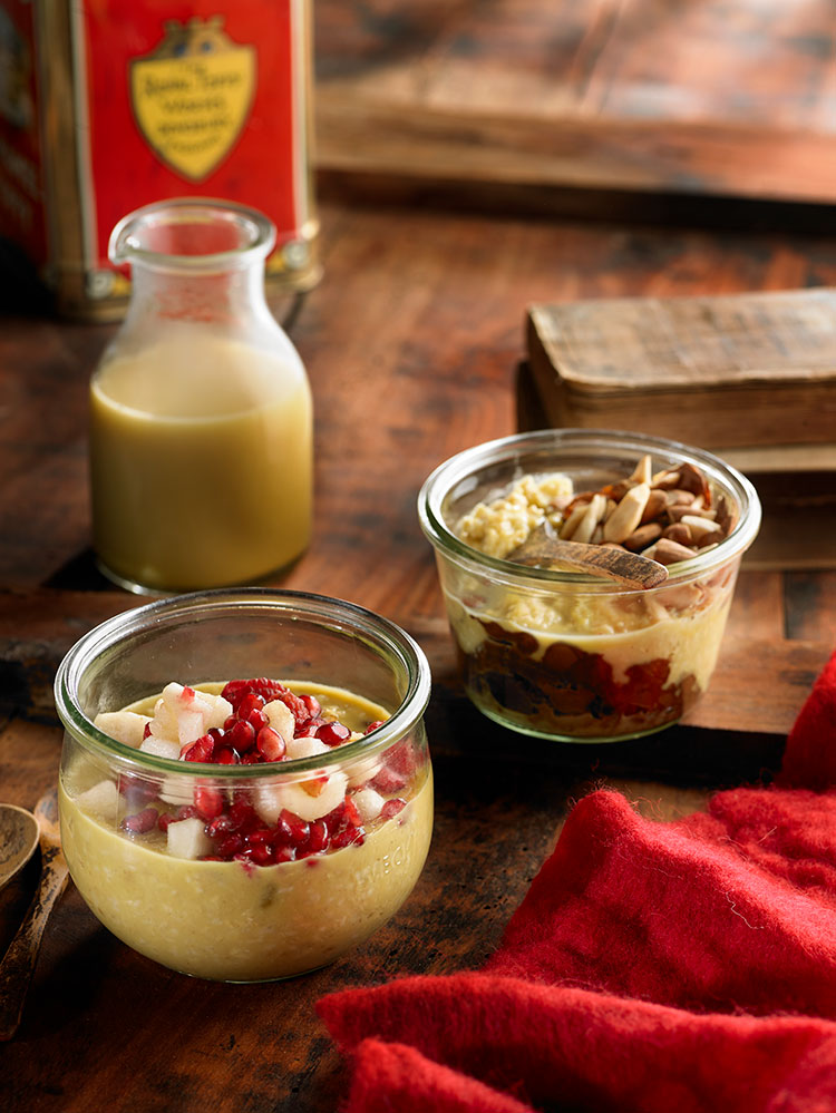 Receta de porridge de avena con leche de arroz y cúrcuma