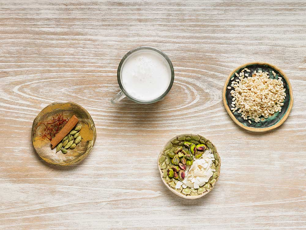 Receta de arroz integral con leche vegetal