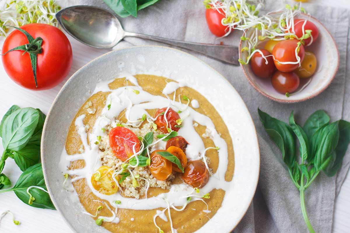 Receta crema de tomates y lentejas