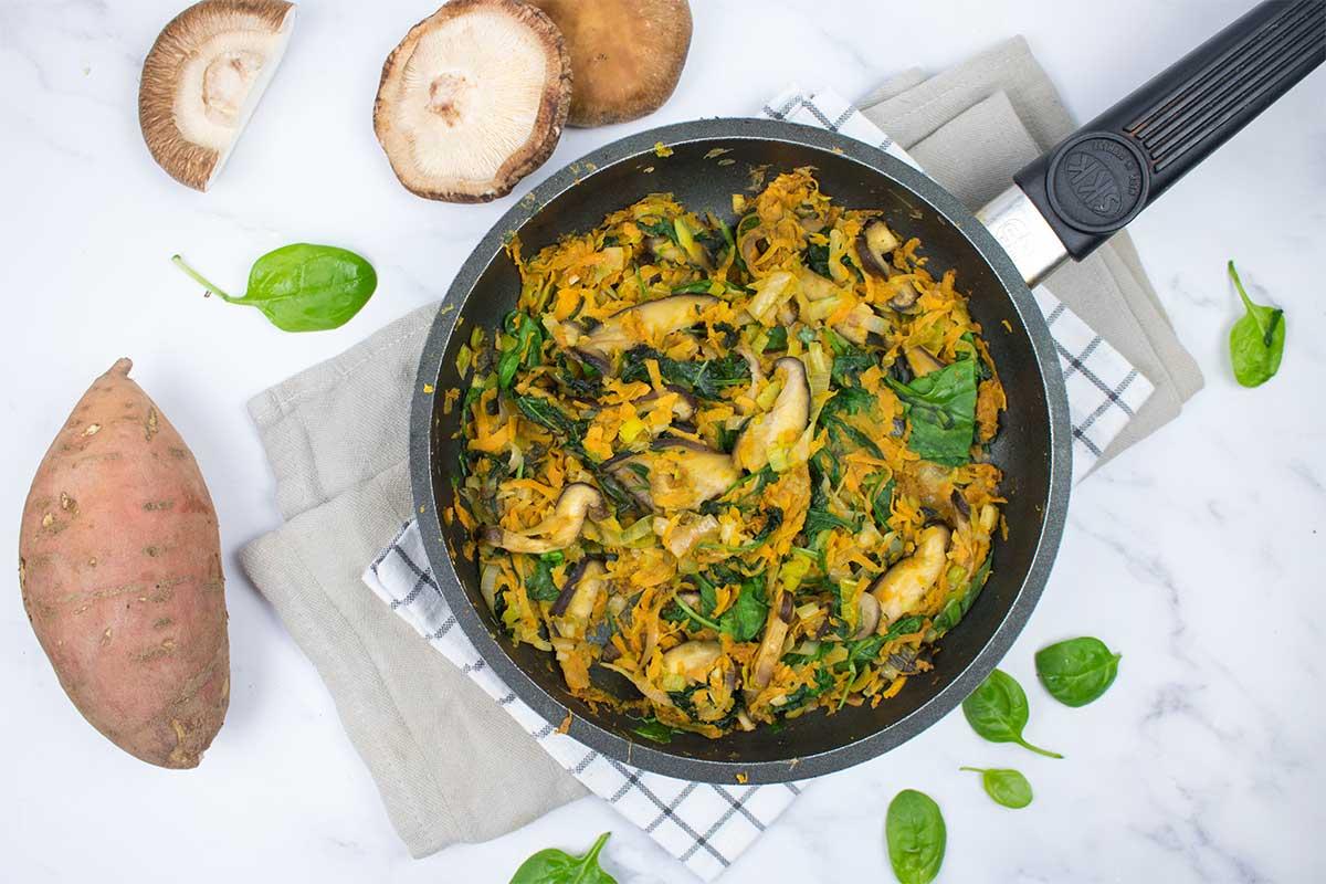 Paella de verduras con boniato
