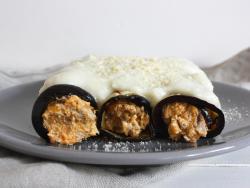 Canelones de berenjena rellenos de calabaza, shiitake y nueces
