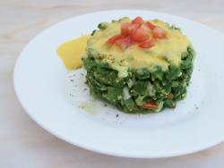Ensaladilla de judía verde con vinagreta de melocotón