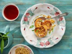 Melocotones y nectarinas asados con almendra crocante