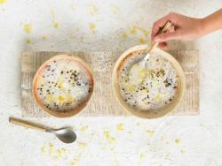 Desayuno blanco con tapioca, vainilla, pera y limón