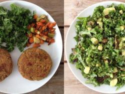 Cena en pareja de hamburguesas veganas de trigo sarraceno, ensalada de kale, aguacate y alcachofas