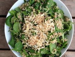 Cena completa para mujeres embarazadas: quinoa con espinacas, cebolla deshidratada y salsa de tahina y umeboshi