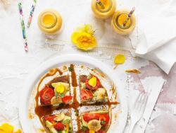Pancake de almendra y smoothie de zanahoria y jengibre